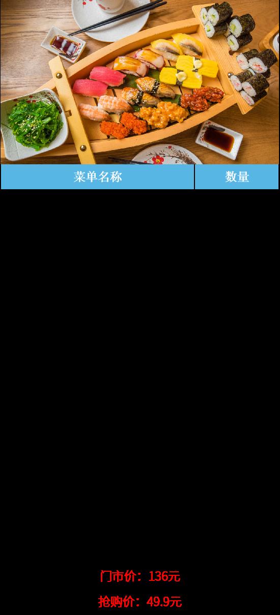 """【佛山·祖庙·新东方天地】将寿司一""""船""""打尽!仅49.9元抢门市价136十兵卫料理寿司船套餐=八爪鱼军舰+吞拿鱼沙律军舰+ 蟹子军舰甘虾寿司+黄希鲮鱼寿司 +三文鱼寿司+ 鳗鱼寿司 +金枪鱼寿司等 49.9元套餐"""